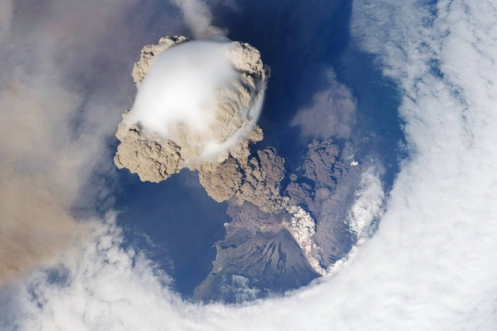 This is a plume of ash from the Sarychev volcano in the Kuril islands, northeast of Japan. The picture was taken from the International Space Station during the early stage of the volcano's eruption on June 12, 2009. Credits: NASA