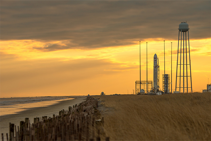 Barrier beaches near the spaceport on Wallops Island, Virginia, have been receding by as much as 12 feet per year. (Photo by NASA/Bill Ingalls)