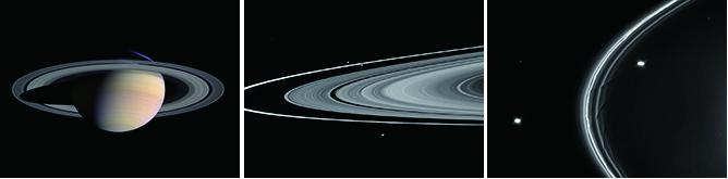 Figure 1: Images of Saturn's Main Rings, the F Ring, and its Shepherd Satellites Obtained by Cassini. (Left) Saturn's main rings (NASA/PIA06077). (Center) The narrow F ring located just outside of the outer edge of the main rings. Two satellites sandwiching the F ring slightly above and to the left of the center of the image are the shepherd satellites Prometheus (inner orbit) and Pandora (outer orbit) (NASA/PIA12717). (Right) Closer image of the F ring and its shepherd satellites Prometheus (inner orbit) and Pandora (outer orbit) (NASA/PIA07712). In the center and right images, Saturn is beyond the images towards the right.