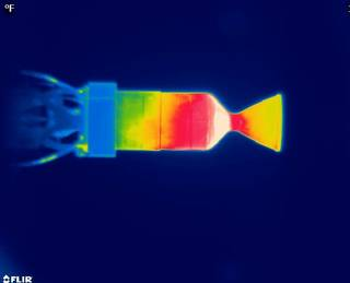 This image reveals a temperature profile of a 22 Newton thruster using the green propellant LMP-103S during a 10-second pulsing test that ratchets the temperature upward. Using this data, engineers can determine how chemical reactions cause heat to flow around to the thruster over time. Credits: NASA/MSFC/Christopher Burnside
