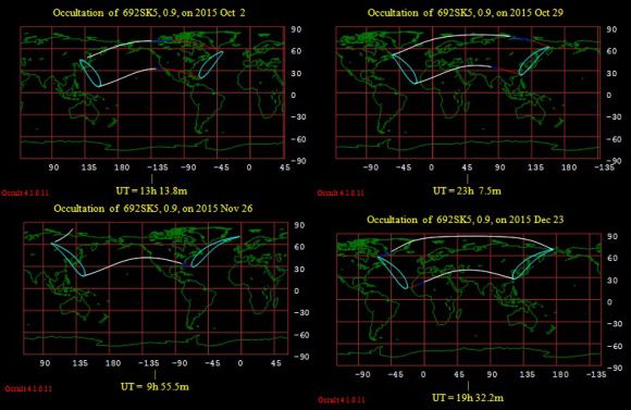 The final four occultations of Aldebaran by the Moon for 2015.  Image credit: Occult 4.1