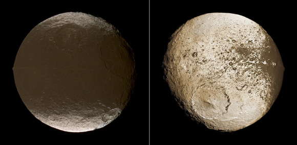 "The two sides of Iapetus, ""Saturn's yin yang moon"". Credit: NASA/JPL"
