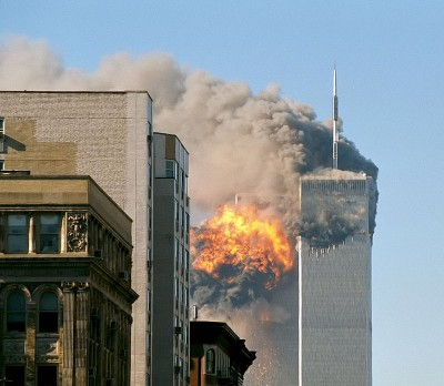 United Airlines Flight 175, which had been taken over by hijackers, hits the South Tower of the former World Trade Center on September 11, 2001, in New York City, United States. Photo credit:  Robert J. Fisch, Wikimedia Commons