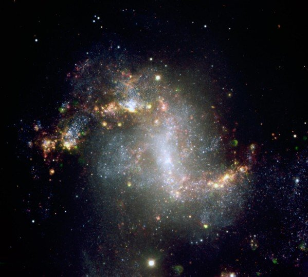 This image, taken with the European Southern Observatory's Very Large Telescope, shows the central region of galaxy NGC1313. This galaxy is home to the ultraluminous X-ray source NCG1313X-1, which astronomers have now determined to be an intermediate-mass black hole candidate. NGC1313 is 50,000 light-years across and lies about 14 million light-years from the Milky Way in the southern constellation Reticulum. Image credit: ESO