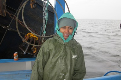 Amina Schartup, a UConn Ph.D. graduate in marine sciences and now a postdoctoral fellow at Harvard, aboard the 'What's Happening.' Photo courtesy of Harvard University