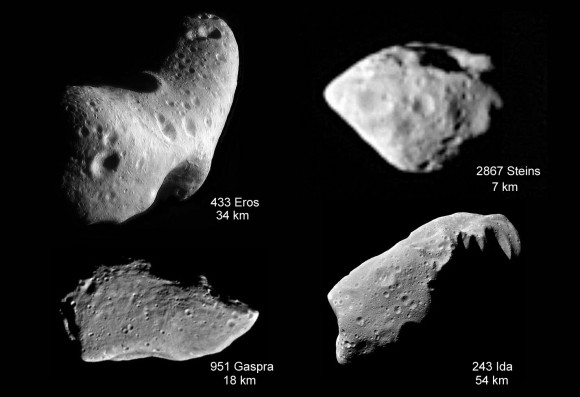 Asteroids we've seen up close show various shapes. Credit: NASA