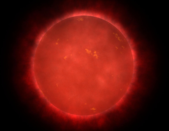 Barnard's Star, a red dwarf low in metals,  is very ancient with an age between 7 and 12 billion years. Like people, older stars slow down and Barnard's is no exception with a rotation rate of 150 days. Heading in the Sun's direction, the star will come closest to our Solar System around the year 11,800 A.D. at a distance of just 3.75 light years. Credit: NASA