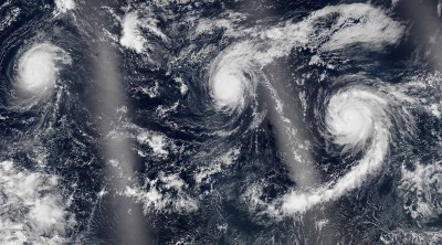 For the first time in recorded history, three category-4 hurricanes formed in the Pacific Ocean in August. Photo credit: NASA Earth Observatory
