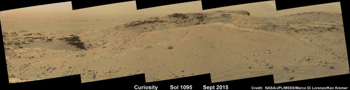 Curiosity rover explores around the Stimson unit at the base of Mount Sharp on Mars on Sol 1095, Sept. 5, 2015 in this photo mosaic stitched from Mastcam color camera raw images. Credit: NASA/JPL/MSSS/Marco Di Lorenzo/Ken Kremer
