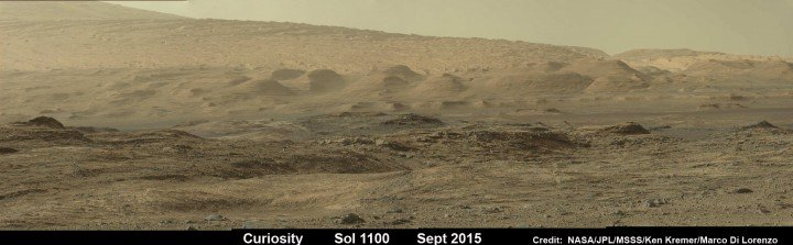 Curiosity looks toward fabulous canyons and buttes at the base of Mount Sharp from the Stimson sand dunes on Mars on Sol 1100, Sept. 10 2015 in this photo mosaic stitched from Mastcam color camera raw images. Credit: NASA/JPL/MSSS/Ken Kremer/Marco Di Lorenzo