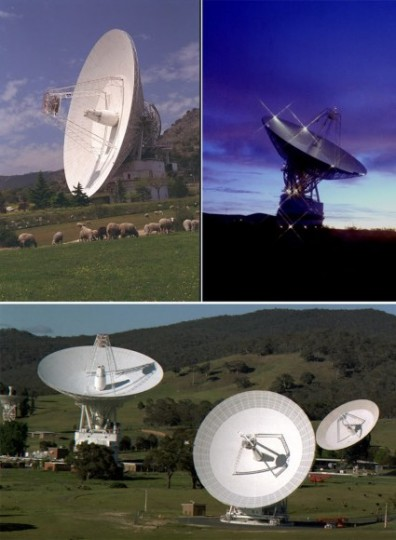 All communications with New Horizons – from sending commands to the spacecraft, to downlinking all of the science data from the historic Pluto encounter – happen through NASA's Deep Space Network of antenna stations in (clockwise, from top left) Madrid, Spain; Goldstone, California, U.S.; and Canberra, Australia. Even traveling at the speed of light, radio signals from New Horizons need more than 4 ½ hours to travel the 3 billion miles between the spacecraft and Earth. Credit: NASA.