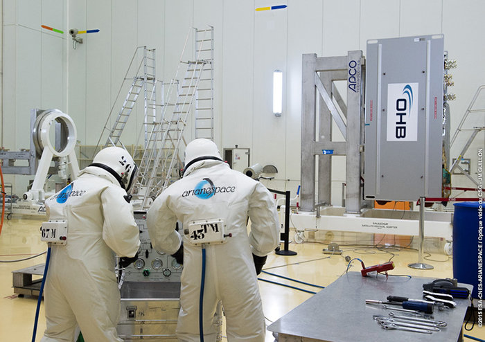 Europe's ninth and tenth Galileo satellites being fuelled by technicians in protective SCAPE suits within the Guiana Space Centre's 3SB preparation building on 24 August. This left them ready to be attached to their launcher upper stage in preparation for launch on the night of 10 September 2015 local time. Copyright ESA/CNES/ARIANESPACE-Service Optique CSG JW Guillon