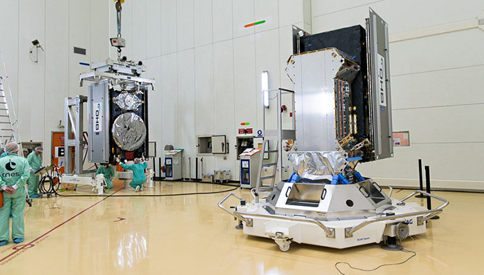 Europe's ninth and tenth Galileo satellites being brought together on their launch dispenser in the S3B preparation building of the Guiana Space Centre. The operation took place over 27–28 August 2015 ahead of a planned 11 September launch. Copyright ESA/CNES/ARIANESPACE-Service Optique CSG
