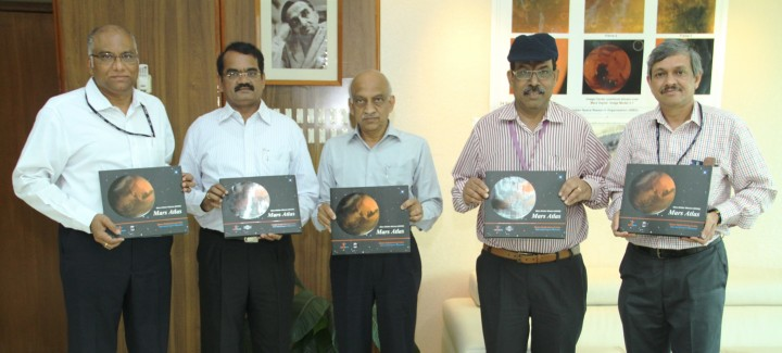 Shri A S Kiran Kumar, Chairman ISRO (centre) releasing the Mars Orbiter Mission (MOM) Mars Atlas with Dr. Y V N Krishnamoorthy, Scientific Secretary ISRO (left); Dr. Annadurai M, Director ISRO Satellite Centre, Shri Tapan Misra, Director Space Application Centre ISRO, Shri Deviprasad Karnik, Director Public Relations Unit ISRO. Credit: ISRO