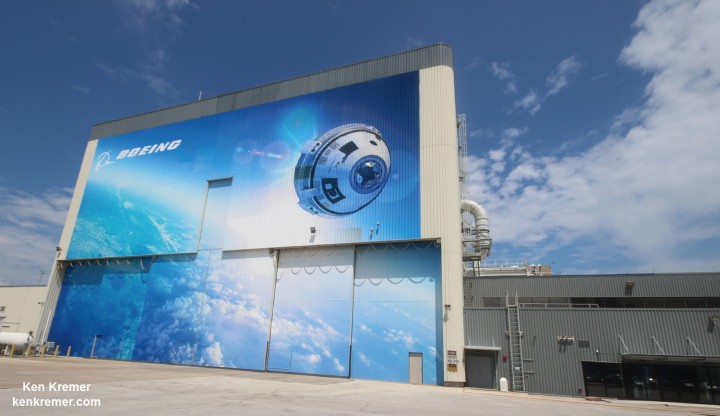 Boeing 'Starliner' commercial crew space taxi manufacturing facility marks Grand Opening at the Kennedy Space Center on Sept 4. 2015. Exterior view depicting newly installed mural for the Boeing Company's newly named CST-100 'Starliner' commercial crew transportation spacecraft on the company's Commercial Crew and Cargo Processing Facility (C3PF) at NASA's Kennedy Space Center in Florida. Credit: Ken Kremer