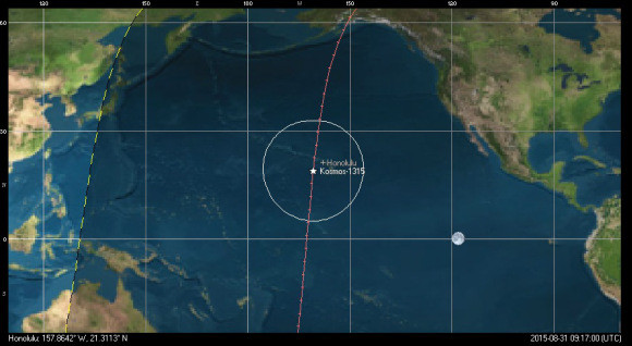 The position of Kosmos-1315 at 9:17 UT. Image credit: Orbitron