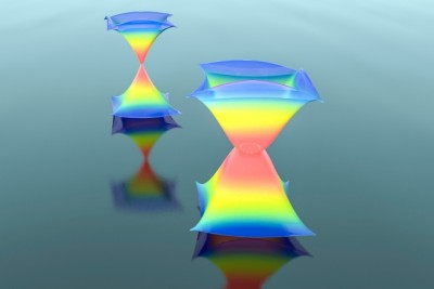 A schematic drawing of how a ring of exceptional points (shown in white) can be spawned from a Dirac point (a dot), and thus change the dispersion from the normal, widely known conical shape into an exotic lantern-like shape. Image credit: Courtesy of the researchers