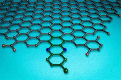 A new carbon-based catalyst can bond to the edges of two-dimensional sheets of graphene. Image courtesy of the researchers