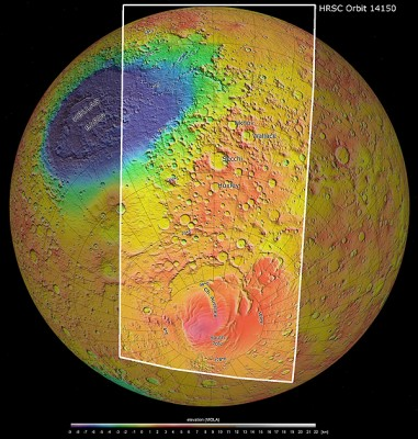 An enlargement of the High Resolution Stereo Camera (HRSC) image strip from Mars Express orbit 14,150 projected onto a global view of Mars where the elevations are colour coded. Higher areas are shown in red and orange, while lower areas are coloured blue and green. Hellas Planitia, at the centre of the largest impact basin on Mars, is clearly visible. The southern polar cap, with its red hue, is visible in the lower part of the image. Image credit: NASA/JPL (MOLA), FU Berlin.