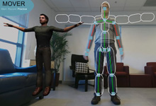 An ONR-supported researcher tests the Mobile, Virtual Enhancements for Rehabilitation (MOVER) software system. MOVER provides traumatic brain injury patients with a way to engage in virtual physical therapy regimens at home.