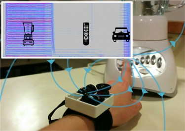 This MagnifiSense research prototype can sense what appliances its wearer is using, based on the electromagnetic radiation emanating from devices such as blenders, remote controls or even automobiles. Image credit: University of Washington