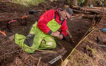 Dave McMahan, Neva Project principal investigator, takes notes in a completed excavation block. Image credit: Gleb Mikhalev