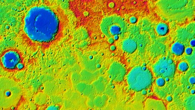 Terrain model of Mercury. This model was created using stereo images acquired by the MESSENGER spacecraft. Image credit: NASA