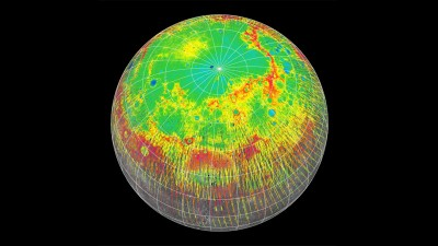 Highs and lows of Mercury. This model shows the altitude profile of the northern hemisphere of Mercury, measured by the laser altimeter on the MESSENGER spacecraft (red is high, blue is low). Image credit: NASA