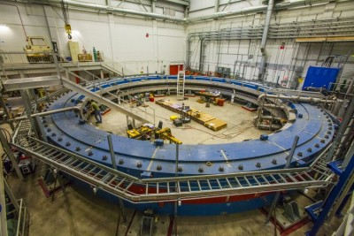 The fully assembled magnet in its new home. Image credit: Fermilab