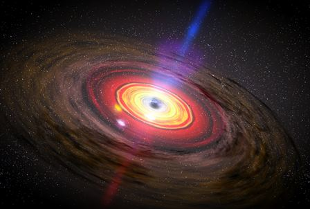 A still frame from a movie, illustrating an active galactic nucleus, with jets of material flowing from out from a central black hole. Credit: NASA / Dana Berry / SkyWorks Digital (See https://www.nasa.gov/centers/goddard/mov/103893main_3SpeedyHotSpots.mov for the full movie). Click for a full size image