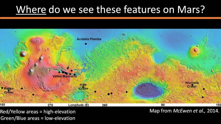 Locations of RSL features on Mars