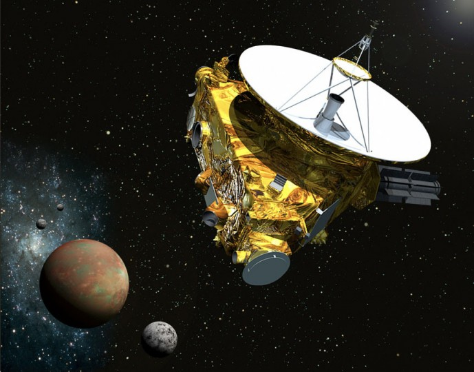 Artist view of New Horizons passing Pluto and three of its moons. Credit: NASA/Johns Hopkins University Applied Physics Laboratory/Southwest Research Institute