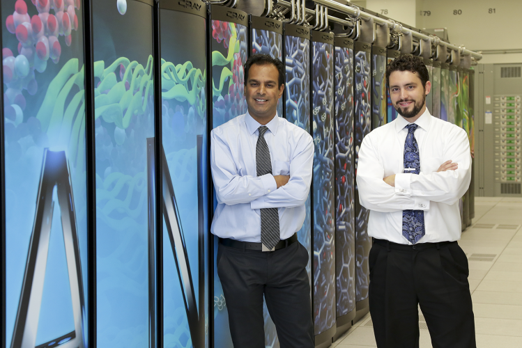 Automated calibration software for building efficiency studies, developed by Oak Ridge National Laboratory researchers Jibonananda Sanyal (left) and Joshua New, is now available as an open source code.