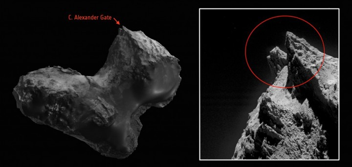 Scientists from the European Space Agency's Rosetta team have honored two late team members by naming comet features after them. Image credit left: ESA's comet viewer https://sci.esa.int/comet-viewerImage credit right: ESA/Rosetta/MPS for OSIRIS Team MPS/UPD/LAM/IAA/SSO/INTA/UPM/DASP/IDA