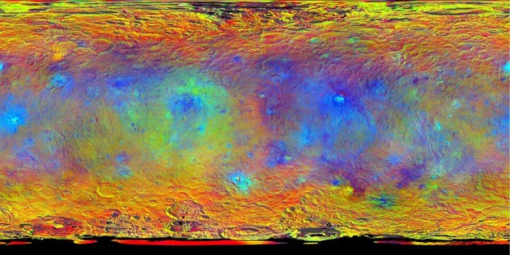 Dawn Team Shares New Maps and Insights about Ceres Topographic View of Ceres MountainHints at Ceres' Composition from Color Topographic Ceres Map with Feature Names IIOccator Topography This map-projected view of Ceres was created from images taken by NASA's Dawn spacecraft during its high-altitude mapping orbit, in August and September, 2015. Image Credit: NASA/JPL-Caltech/UCLA/MPS/DLR/IDA