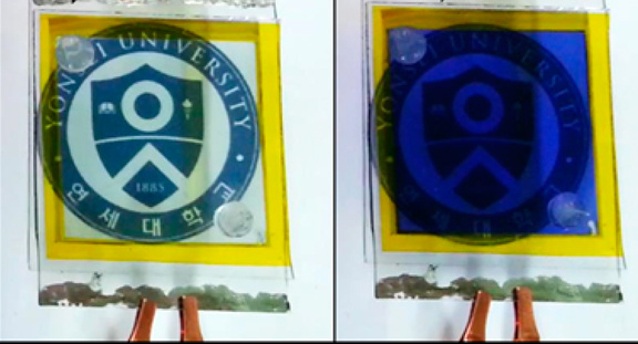 A display changes colors, powered solely by a new hybrid solar-energy device. Credit: American Chemical Society