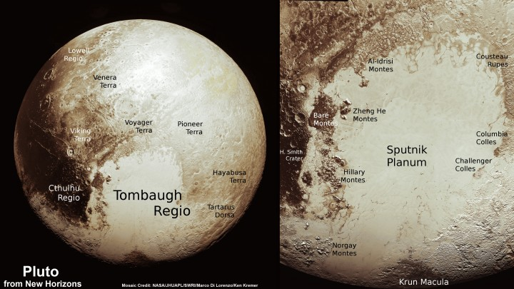 This new global mosaic view of Pluto was created from the latest high-resolution images to be downlinked from NASA's New Horizons spacecraft and released on Sept. 11, 2015. The images were taken as New Horizons flew past Pluto on July 14, 2015, from a distance of 50,000 miles (80,000 kilometers). This new mosaic was stitched from over two dozen raw images captured by the LORRI imager and colorized. Right side inset from New Horizons team focuses on Tombaugh Regio heart shaped feature. Annotated with informal place names. Credits: NASA/Johns Hopkins University Applied Physics Laboratory/Southwest Research Institute/Marco Di Lorenzo/Ken Kremer