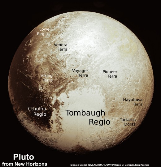 This new global mosaic view of Pluto was created from the latest high-resolution images to be downlinked from NASA's New Horizons spacecraft and released on Sept. 11, 2015. The images were taken as New Horizons flew past Pluto on July 14, 2015, from a distance of 50,000 miles (80,000 kilometers). This new mosaic was stitched from over two dozen raw images captured by the LORRI imager and colorized. Annotated with informal place names. Credits: NASA/Johns Hopkins University Applied Physics Laboratory/Southwest Research Institute/Marco Di Lorenzo/Ken Kremer