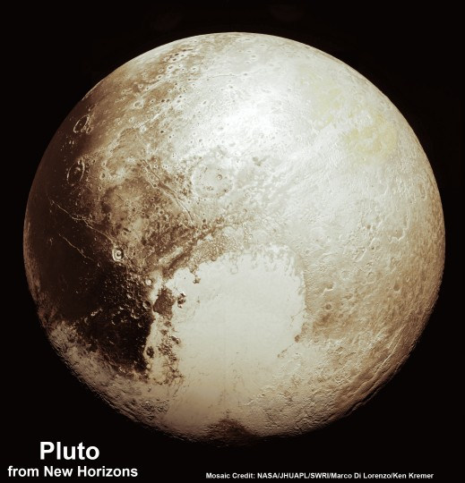 This new global mosaic view of Pluto was created from the latest high-resolution images to be downlinked from NASA's New Horizons spacecraft and released on Sept. 11, 2015. The images were taken as New Horizons flew past Pluto on July 14, 2015, from a distance of 50,000 miles (80,000 kilometers). This new mosaic was stitched from over two dozen raw images captured by the LORRI imager and colorized. Credits: NASA/Johns Hopkins University Applied Physics Laboratory/Southwest Research Institute/Marco Di Lorenzo/Ken Kremer
