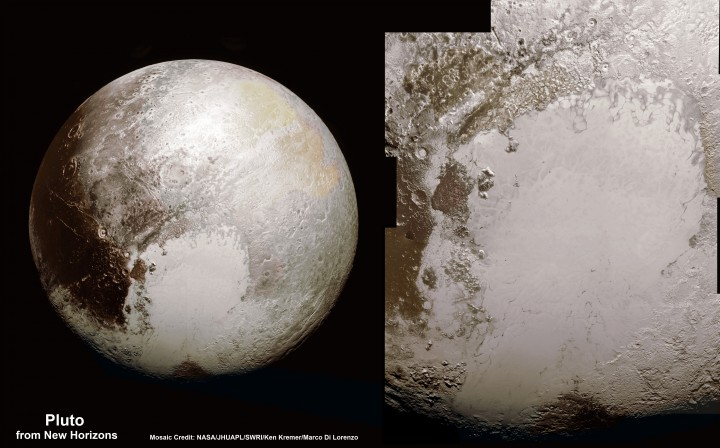 This new global mosaic view of Pluto was created from the latest high-resolution images to be downlinked from NASA's New Horizons spacecraft and released on Sept. 11, 2015. The images were taken as New Horizons flew past Pluto on July 14, 2015, from a distance of 50,000 miles (80,000 kilometers). This mosaic was stitched from over two dozen raw images captured by the LORRI imager and colorized. Right side mosaic comprises twelve highest resolution views of Tombaugh Regio heart shaped feature and shows objects as small as 0.5 miles (0.8 kilometers) in size. Credits: NASA/Johns Hopkins University Applied Physics Laboratory/Southwest Research Institute/ Ken Kremer/Marco Di Lorenzo