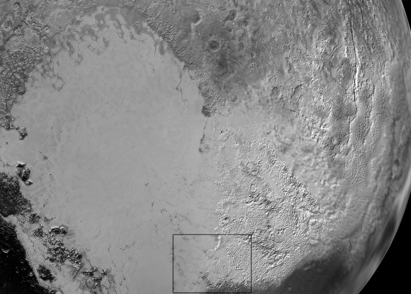 Sputnik Planum is the informal name of the smooth, light-bulb shaped region on the left of this composite of several New Horizons images of Pluto. The brilliantly white upland region to the right may be coated by nitrogen ice that has been transported through the atmosphere from the surface of Sputnik Planum, and deposited on these uplands. The box shows the location of the glacier detail images below. Credits: NASA/JHUAPL/SwRI
