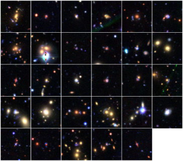 Figure 1: 29 gravitational lens candidates found through Space Warps (credit: Space Warps, Canada-France-Hawaii Telescope Legacy Survey)