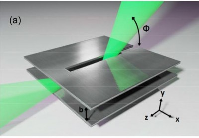 Covering all the angles Terahertz waves leak out of a small slit in the antenna at different angles, depending on frequency. The receiver can be tuned to select one angle, plucking a single data channel from a stream containing many channels. Image credit: Mittleman lab/Brown University