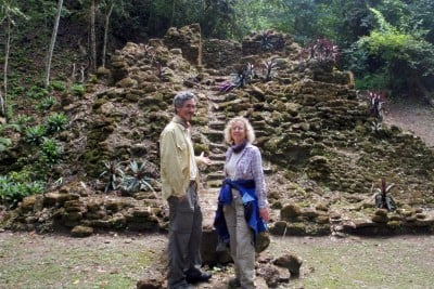 Professor Tim Beach and Professor Sheryl Luzzader-Beach in the tropical lowlands of Central America. Image credit: Tim Beach, Department of Geography and the Environment