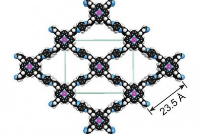 A covalent organic framework with cobalt atoms added (purple) can both capture carbon and catalyze its conversion to carbon monoxide for industrial processes.