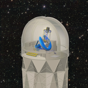 The Dark Energy Spectroscopic Instrument (DESI) will be mounted on the 4-Meter Mayall telescope at Kitt Peak National Observatory. It will collect spectra from 30 million galaxies and quasars to make the biggest 3D map of the universe ever. Image credit: R. Lafever and J. Moustakas, DESI Collaboration