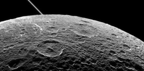 Dione's heavily cratered surface, as observed by the Cassini flyby in June, 2015. Credit: NASA/JPL
