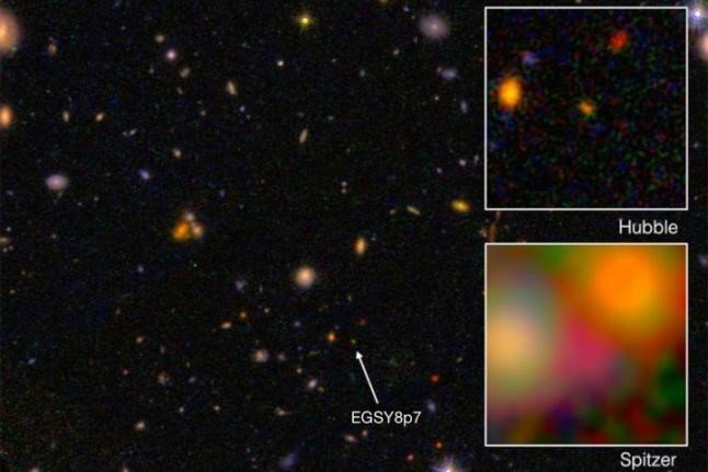 EGSY8p7 is the oldest and farthest galaxy ever discovered. Image courtesy of NASA/JPL/Hubble.
