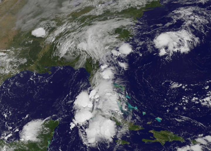 This visible image from NOAA's GOES-East satellite shows the remnant clouds associated with former Tropical Storm Erika over south Florida on August 30 at 9 a.m. EDT. Credits: NASA/NOAA GOES Project