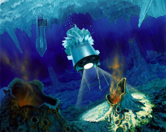 Artist's impression of a hypothetical ocean cryobot (a robot capable of penetrating water ice) in Europa. Credit: NASA